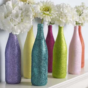 Adoption Party Decorations - Glittered Recycled Bottle Vases