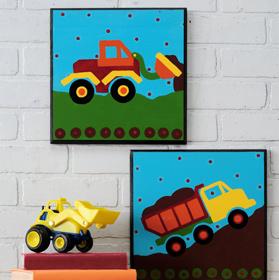 Dump Truck and Bulldozer Plaques