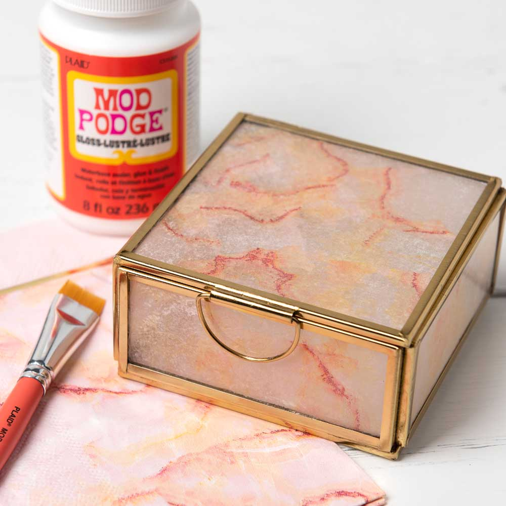 Decoupaged Napkin Jewelry Box