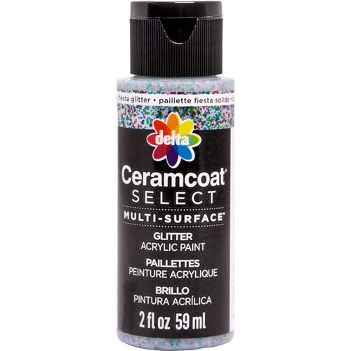 Delta Ceramcoat ® Select Multi-Surface Acrylic Paint - Glitter - Chunky Fiesta Silver, 2 oz.
