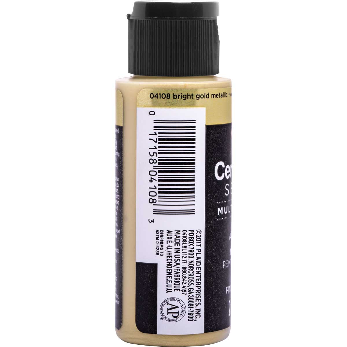 Delta Ceramcoat ® Select Multi-Surface Acrylic Paint - Metallic - Bright Gold, 2 oz. - 04108