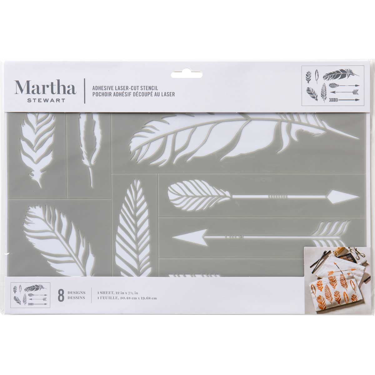 Martha Stewart® Adhesive Stencil - Feathers and Arrows
