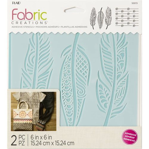 "Fabric Creations™ Adhesive Stencils - Feathers, 6"" x 6"" - 98819"