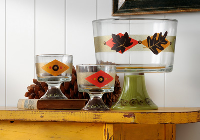 Fall Footed Bowl and Cups