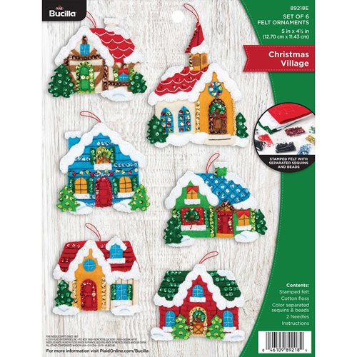 Bucilla ® Seasonal - Felt - Ornament Kits - Christmas Village