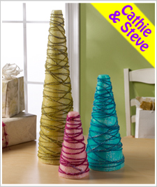 Tissue Paper and Yarn Trees