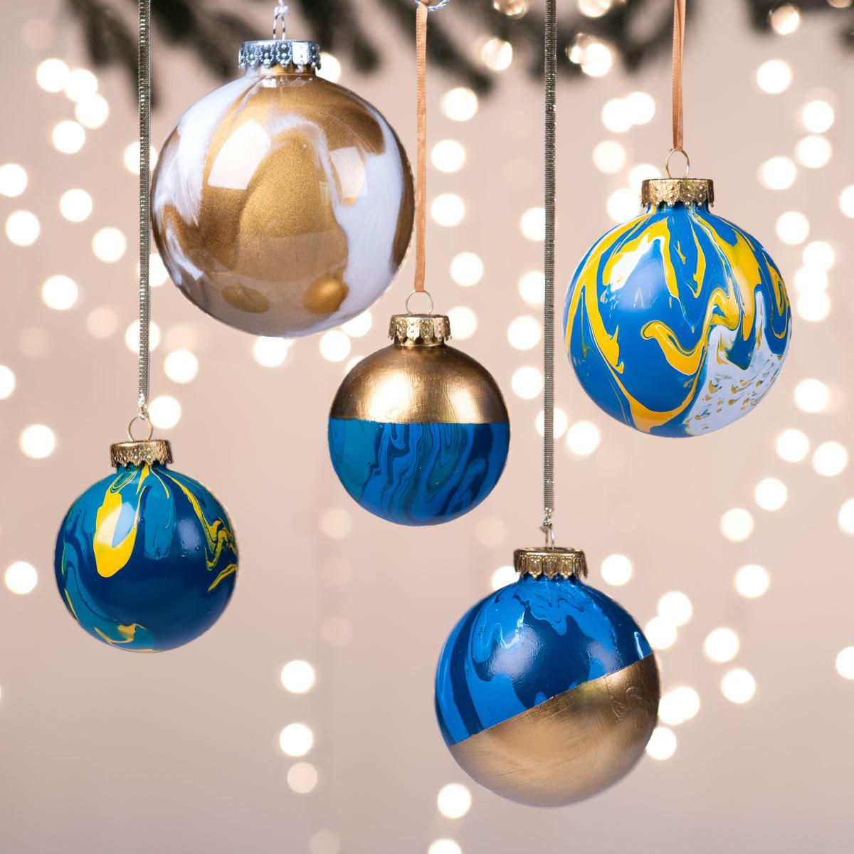 Blue Poured Ornaments