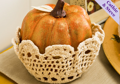 Thanksgiving Pumpkin Nested in a Doily Bowl