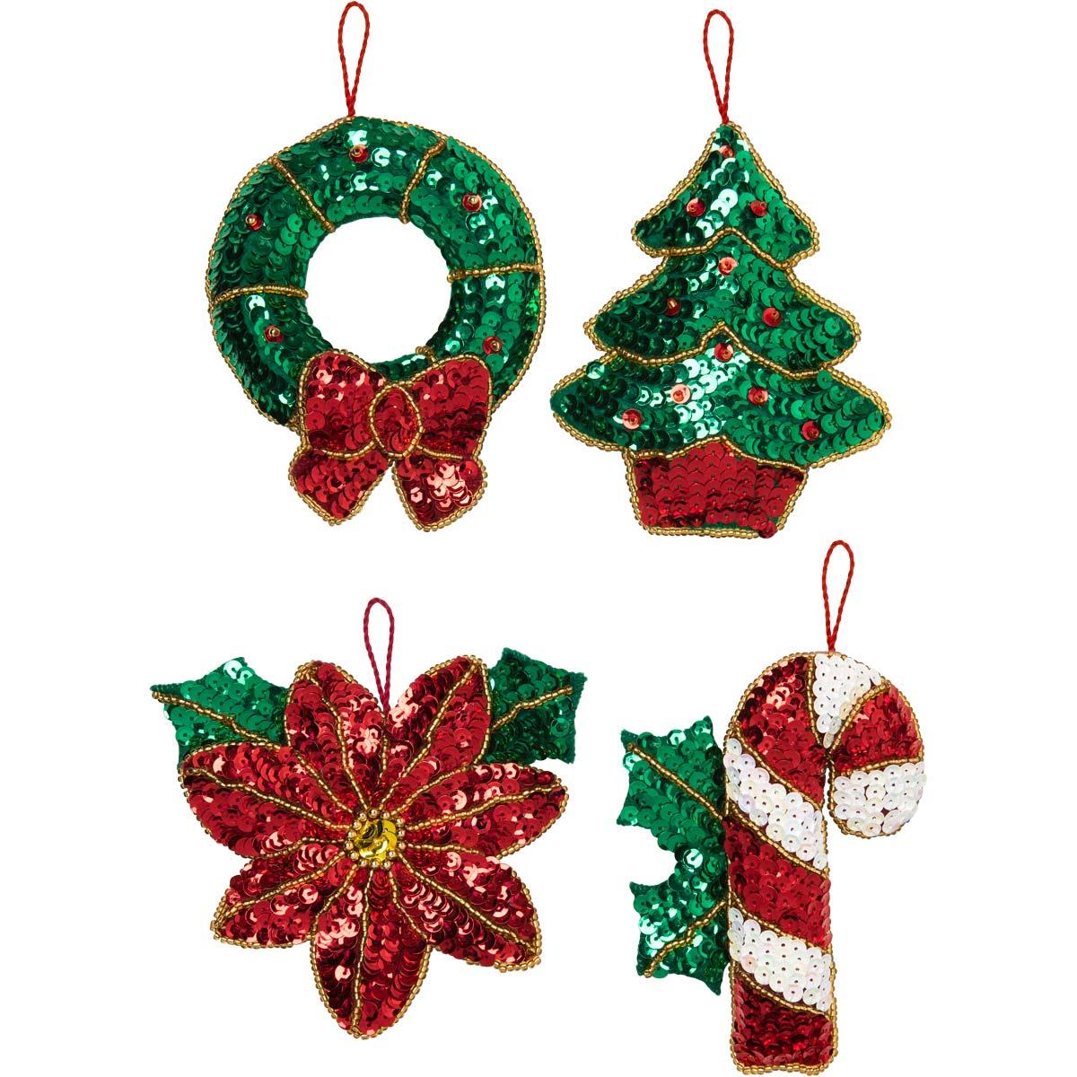Bucilla ® Seasonal - Felt - Ornament Kits - Glitzy Poinsettia - 89216E