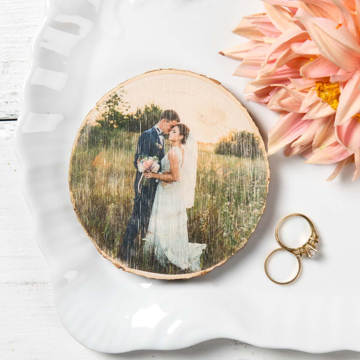 Wedding Photo Wood Round