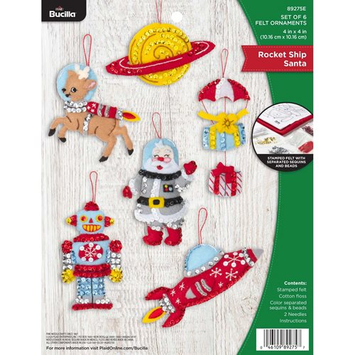 Bucilla ® Seasonal - Felt - Ornament Kits - Rocket Ship Santa - 89275E