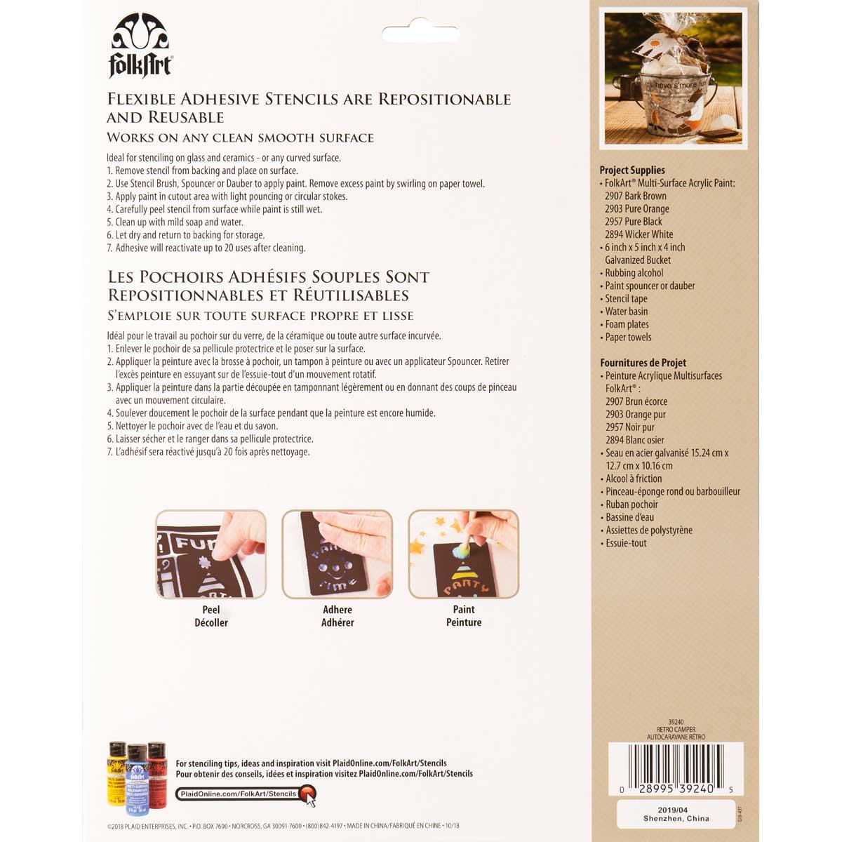 FolkArt ® Laser Cut Adhesive Stencils - Retro Camper - 39240