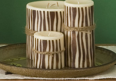 Faux Bois Pillar Candles and Plate with Handmade Charlotte™ Stencils