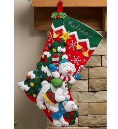 Bucilla ® Seasonal - Felt - Stocking Kits - Snowman & Polar Bear - 86358