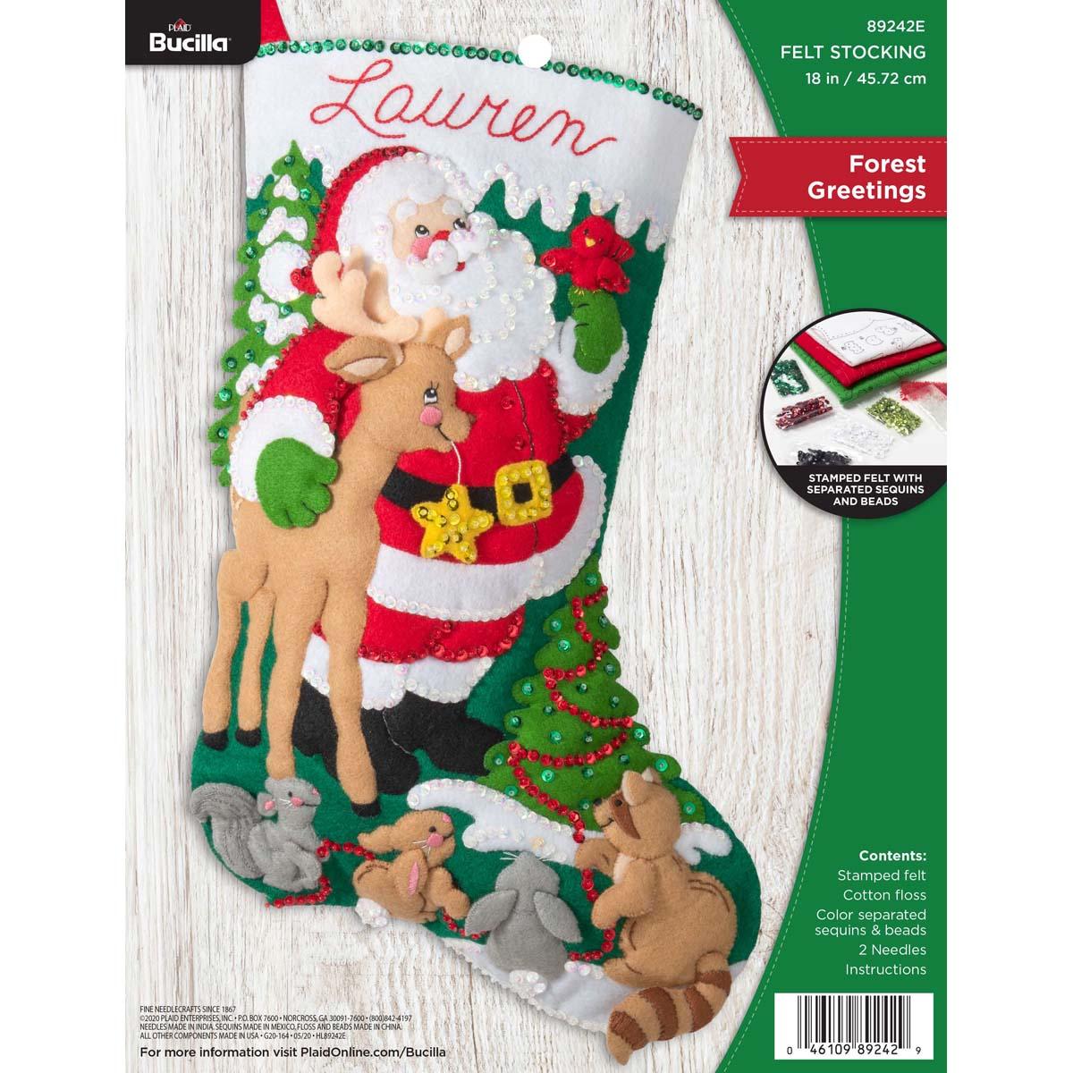 Bucilla ® Seasonal - Felt - Stocking Kits - Forest Greetings - 89242E