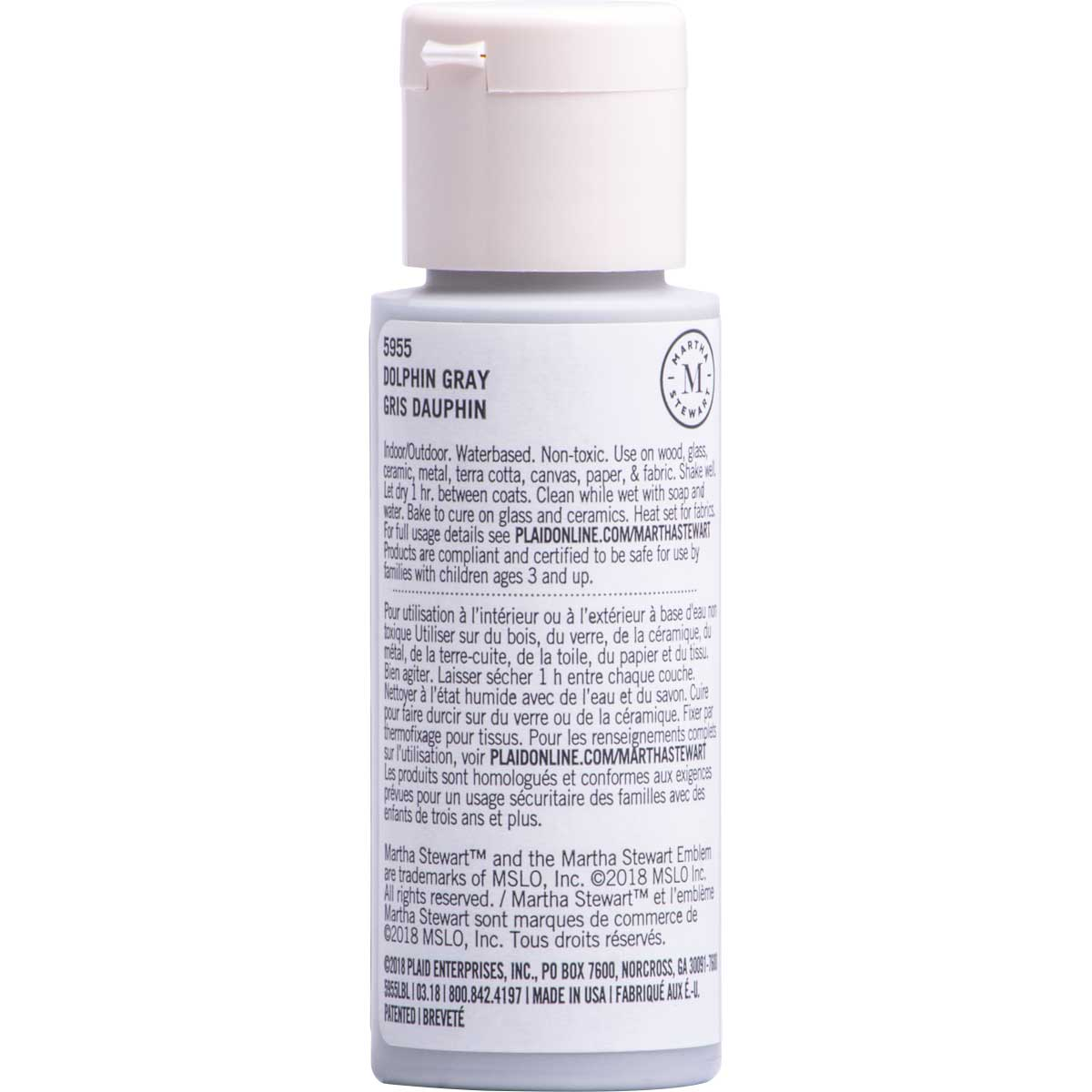 Martha Stewart ® Multi-Surface Satin Acrylic Craft Paint CPSIA - Dolphin Gray, 2 oz. - 5955