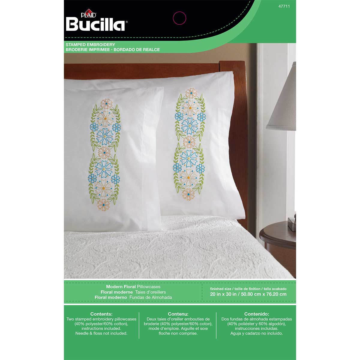 Bucilla ® Stamped Cross Stitch & Embroidery - Pillowcase Pairs - Modern Floral