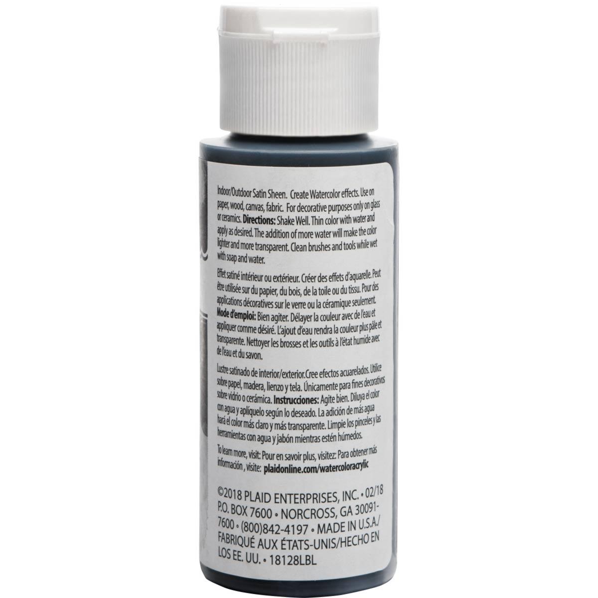 FolkArt ® Watercolor Acrylic Paint™ - Black, 2 oz.