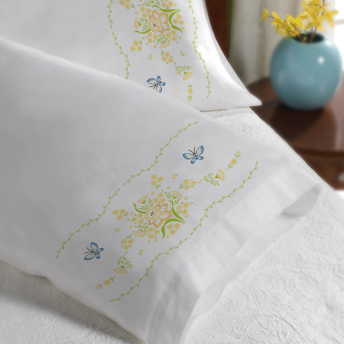 Bucilla ® Stamped Cross Stitch & Embroidery - Pillowcase Pairs - Daffodil Bouquet