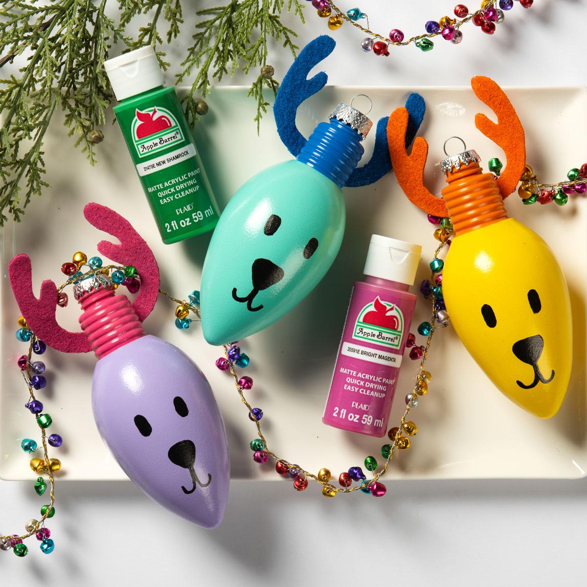 Reindeer Light Bulb Ornaments