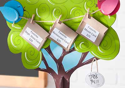 Gift Card Tree for Teacher Appreciation Day