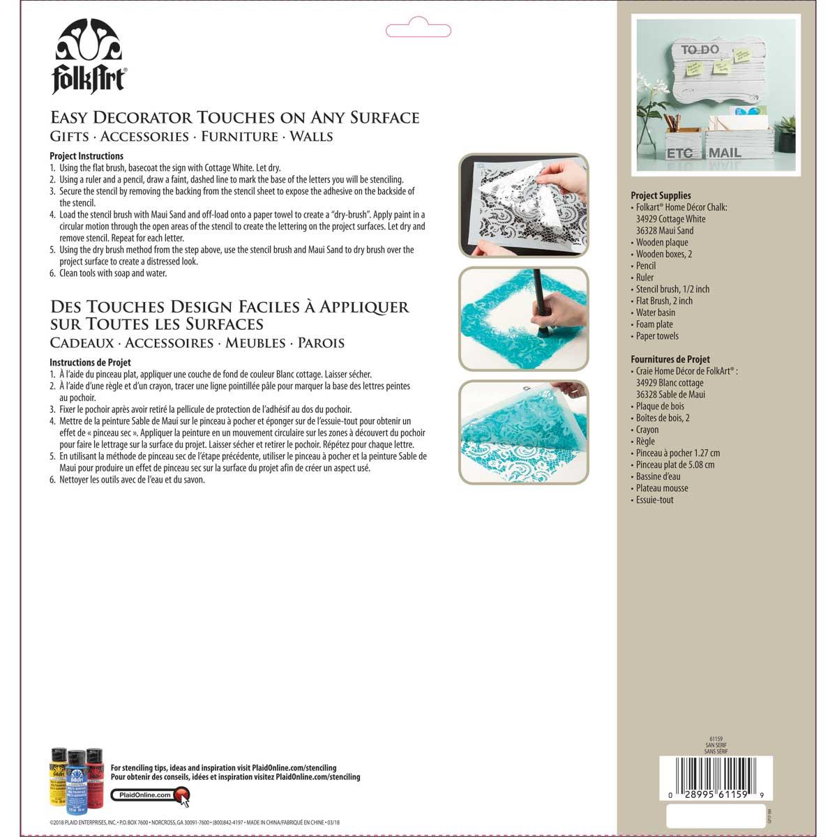 FolkArt ® Painting Stencils - Adhesive Laser - San Serif - 61159