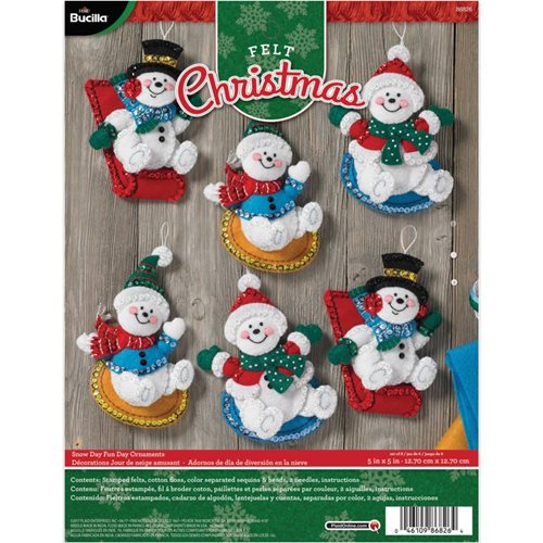 Bucilla ® Seasonal - Felt - Ornament Kits - Snow Day Fun Day