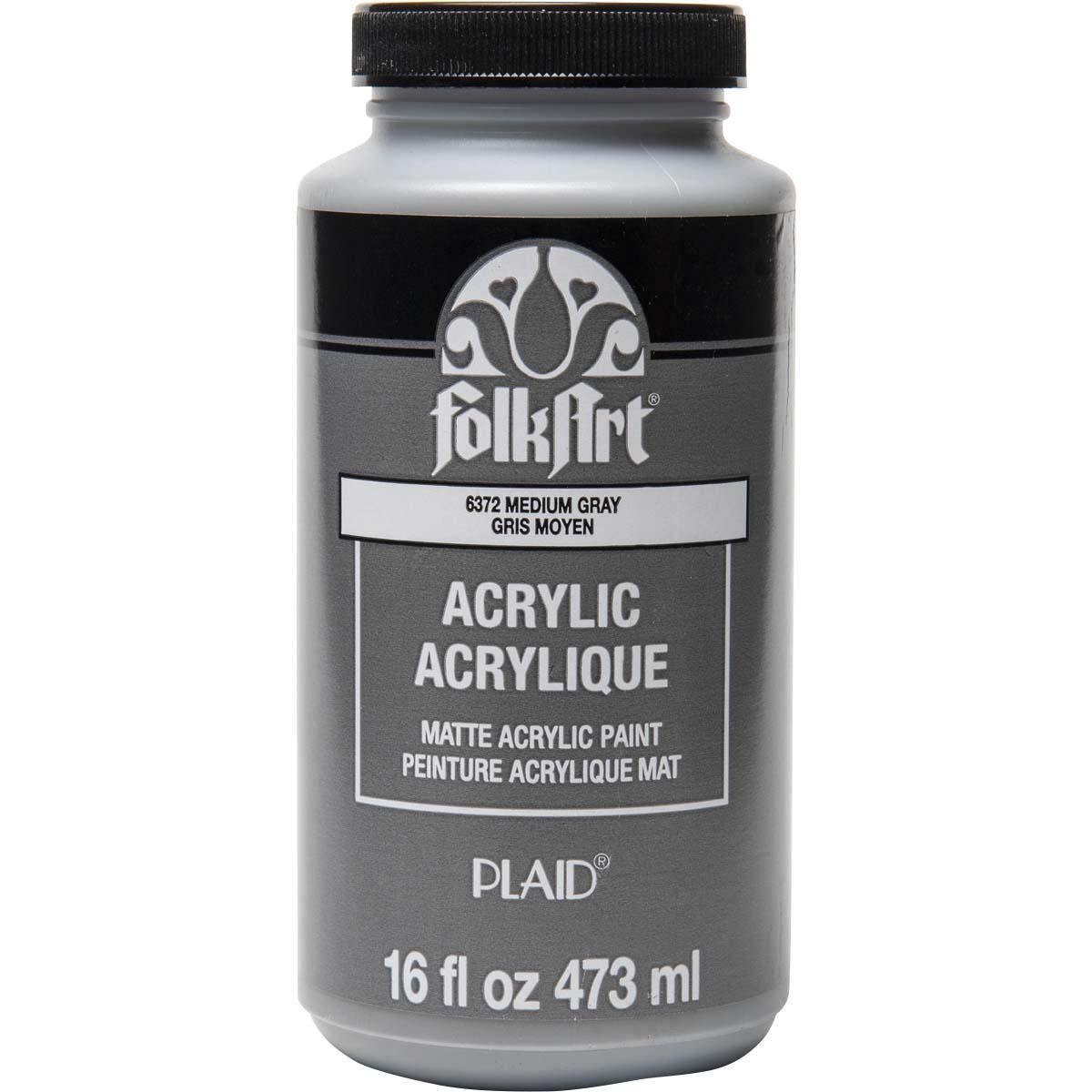 FolkArt ® Acrylic Colors - Medium Gray, 16 oz. - 6372