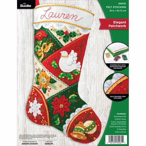 Bucilla ® Seasonal - Felt - Stocking Kits - Elegant Patchwork - 89261E