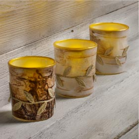 Faux Birch Bark Candle Holders