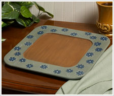 Square Wood Plate painted with Stains