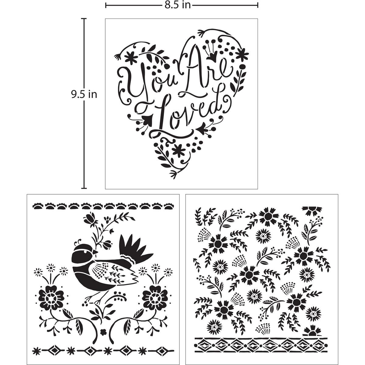 Hallmark Handcrafted Adhesive Stencils - Happy Script Design Pack, 8-1/2