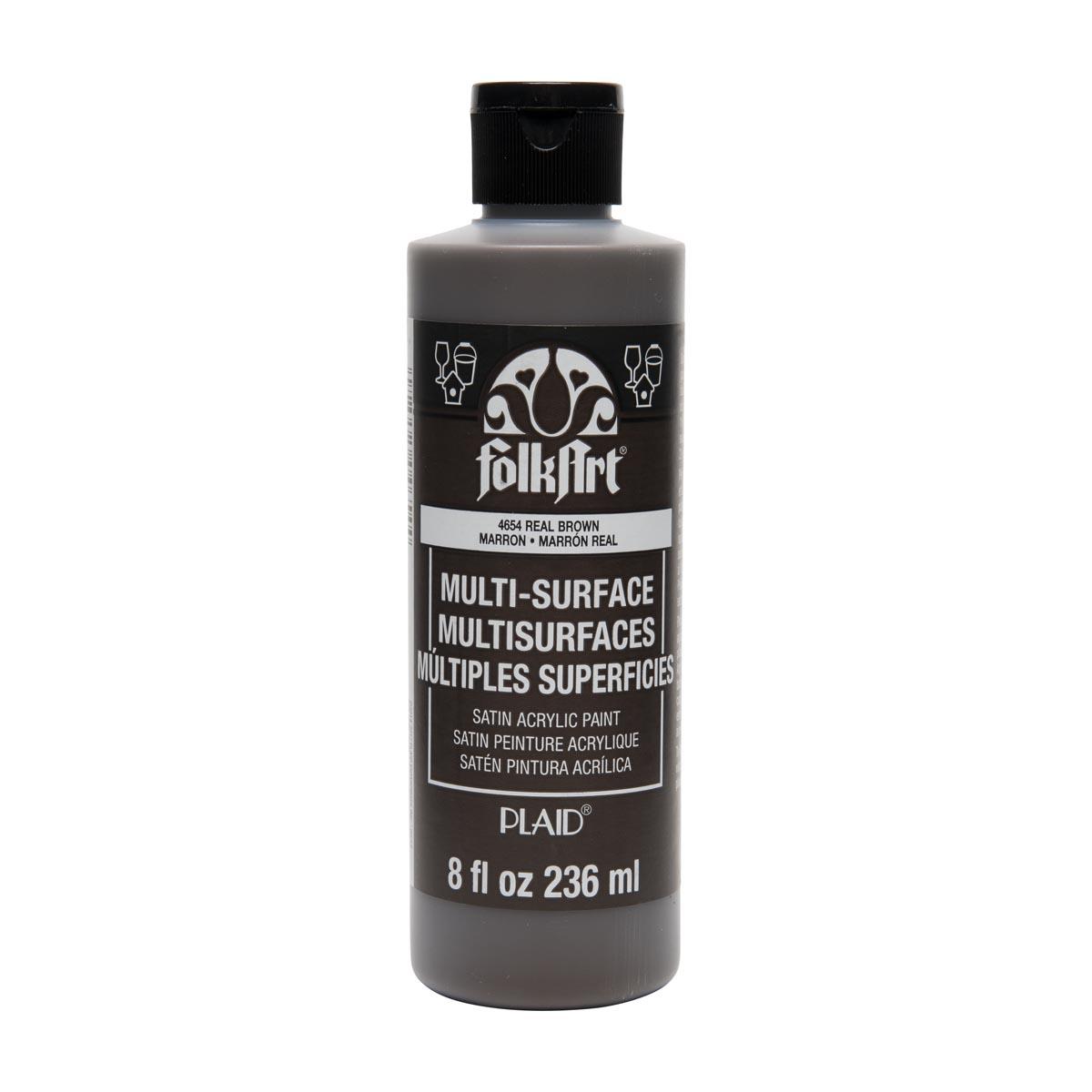 FolkArt ® Multi-Surface Satin Acrylic Paints - Real Brown, 8 oz.
