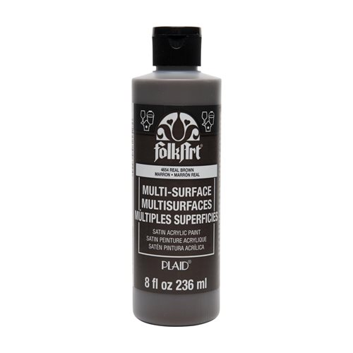FolkArt ® Multi-Surface Satin Acrylic Paints - Real Brown, 8 oz.