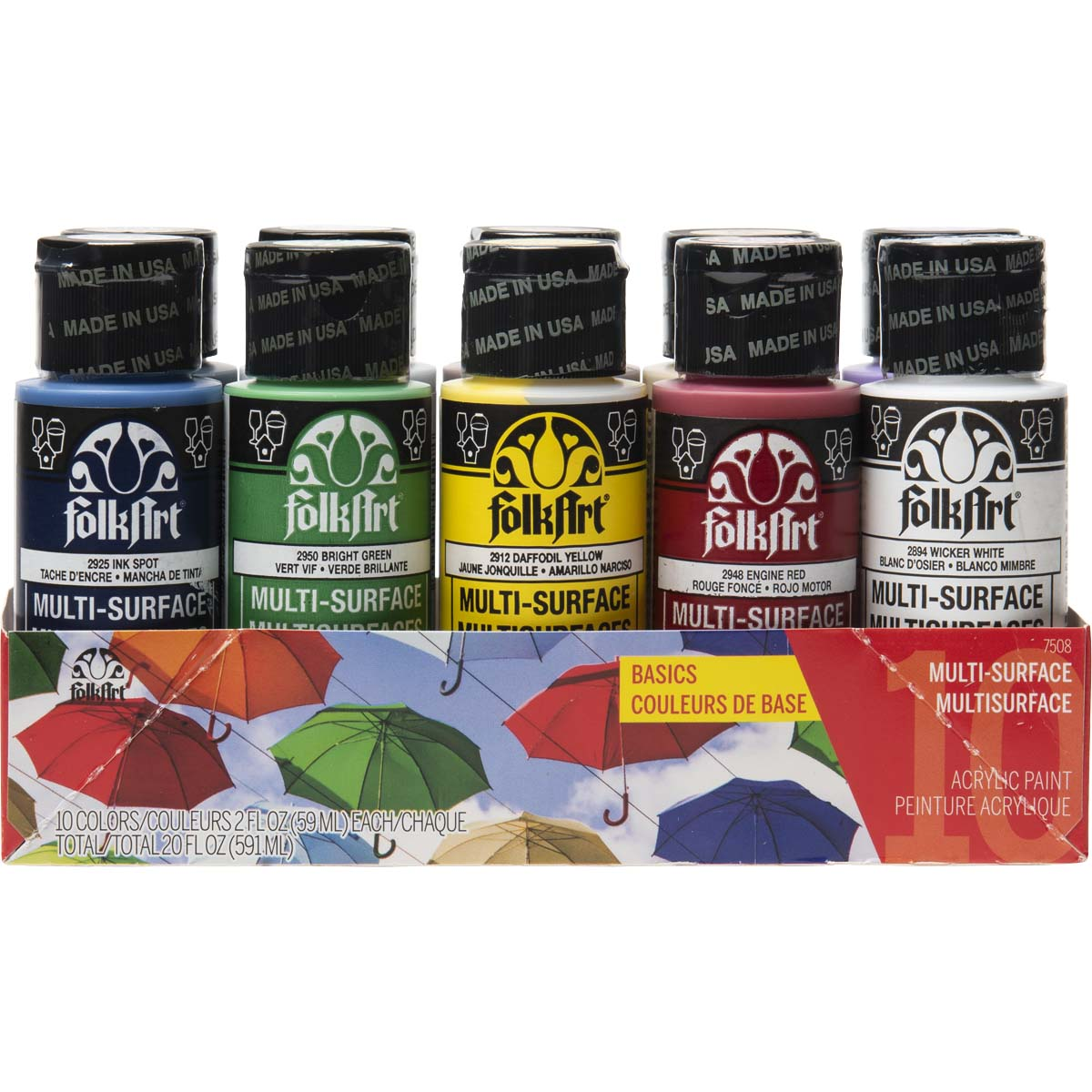 FolkArt ® Multi-Surface Satin Acrylic Paint 10 Color Set - Basics - 7508