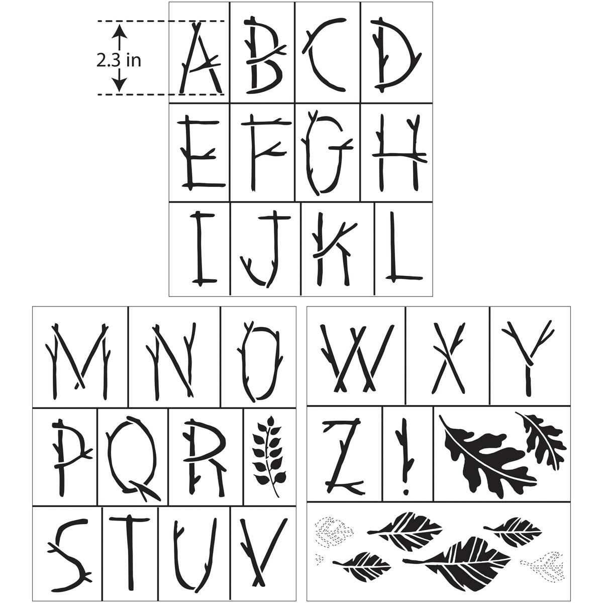 Hallmark Handcrafted Adhesive Stencils - Nature Font, 8-1/2