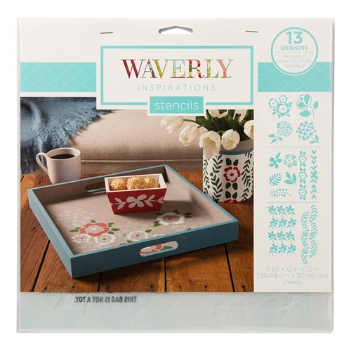"Waverly ® Inspirations Laser Stencils - Décor - Sketch Floral, 12"" x 12"""