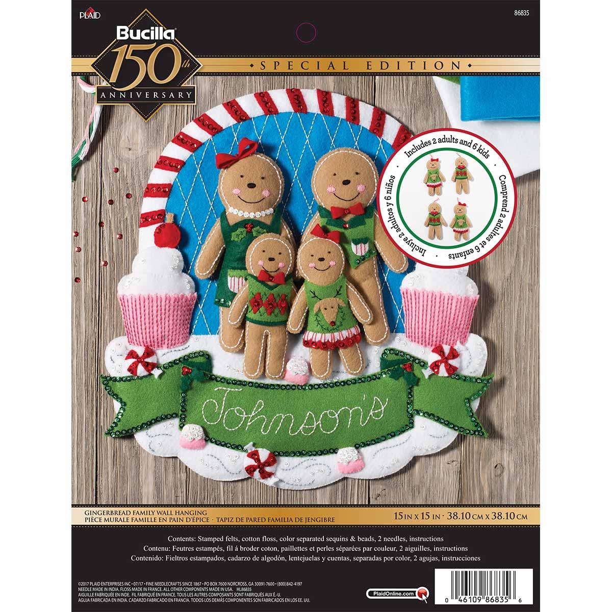 Bucilla ® Seasonal - Felt - Home Decor - Door/Wall Hanging Kits - Gingerbread Family