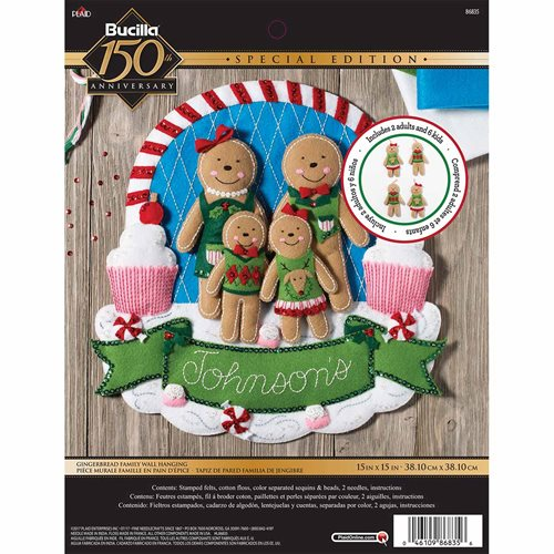 Bucilla ® Seasonal - Felt - Home Decor - Door/Wall Hanging Kits - Gingerbread Family