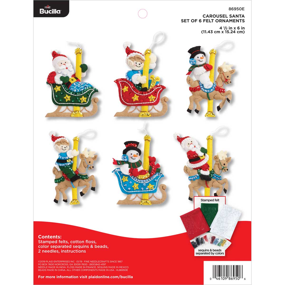 Bucilla ® Seasonal - Felt - Ornament Kits - Carousel Santa - 86950E