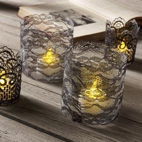 DIY Lace Votive Candle Holders