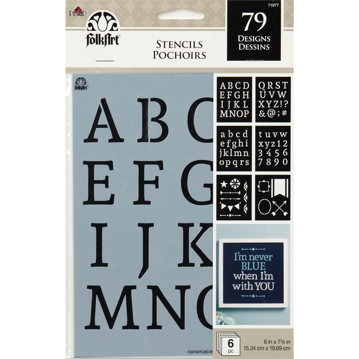 FolkArt ® Craft Stencils - Value Packs - Alphabet Serif
