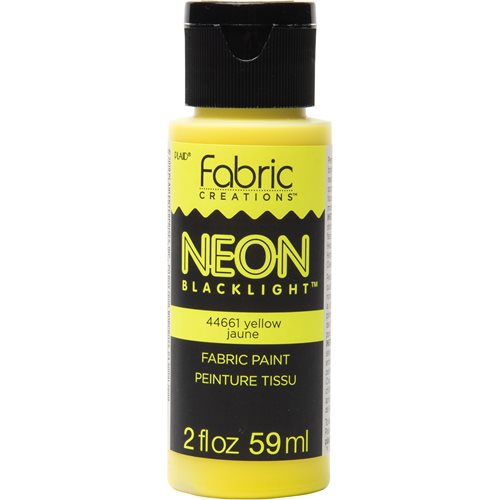 Fabric Creations™ Neon Black Light Fabric Paint - Yellow, 2 oz.