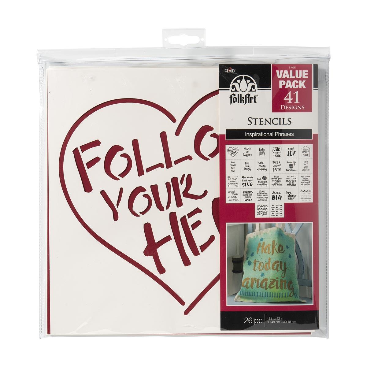FolkArt ® Stencil Value Packs - Inspiration, 12
