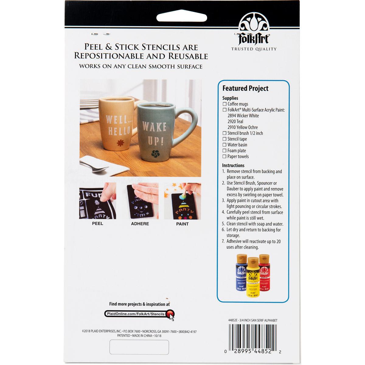 FolkArt ® Peel & Stick Painting Stencils™ - Sans Serif Font Alphabet - 44852E