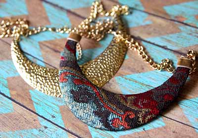 Fabric Covered Bib Necklace