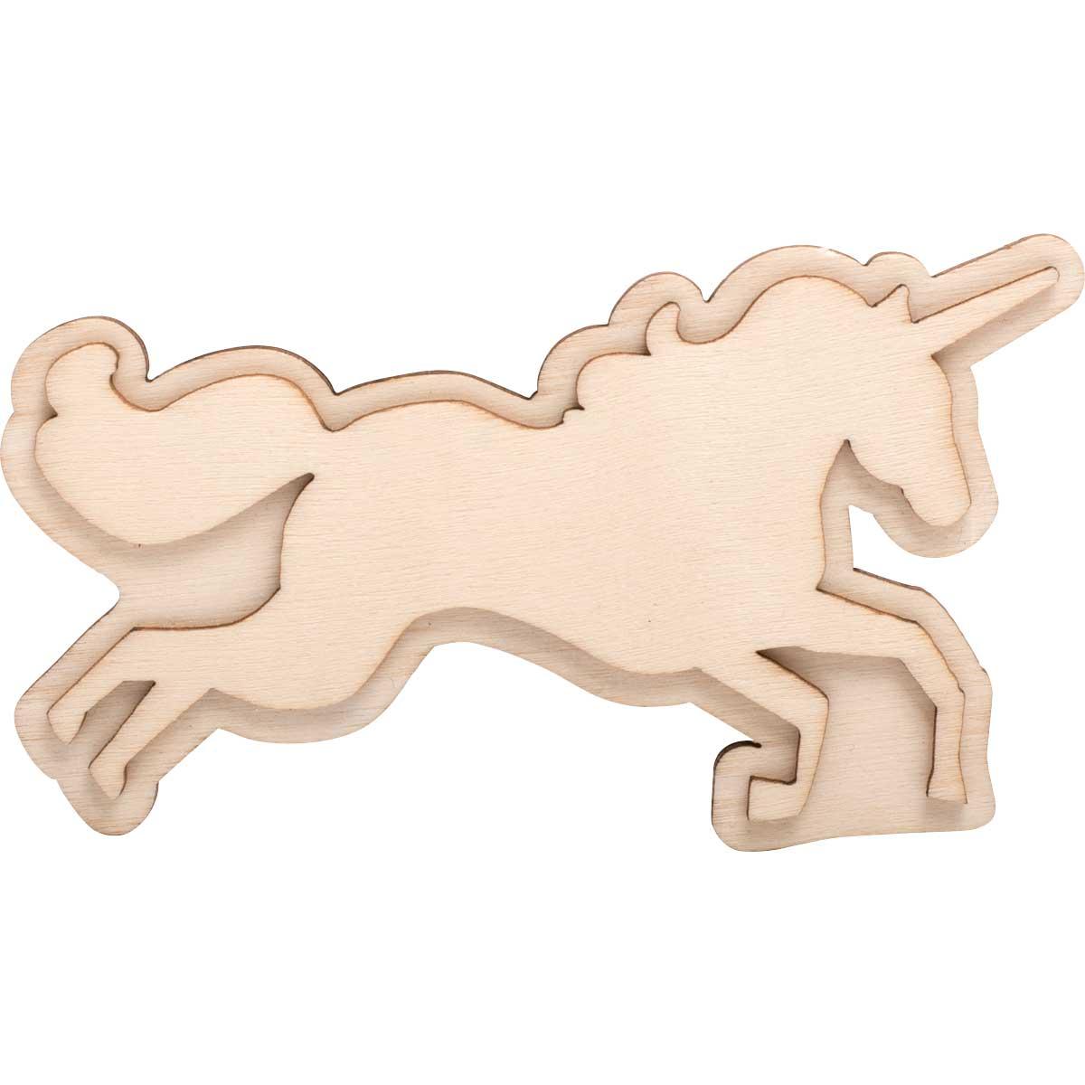 Plaid ® Wood Surfaces - Unpainted Layered Shapes - Unicorn