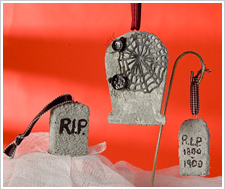 Halloween Textured Tombstone Ornaments