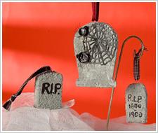 Halloween Textured Tombstone Ornaments