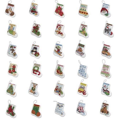 Bucilla ® Seasonal - Counted Cross Stitch - Ornament Kits - More Tiny Stockings
